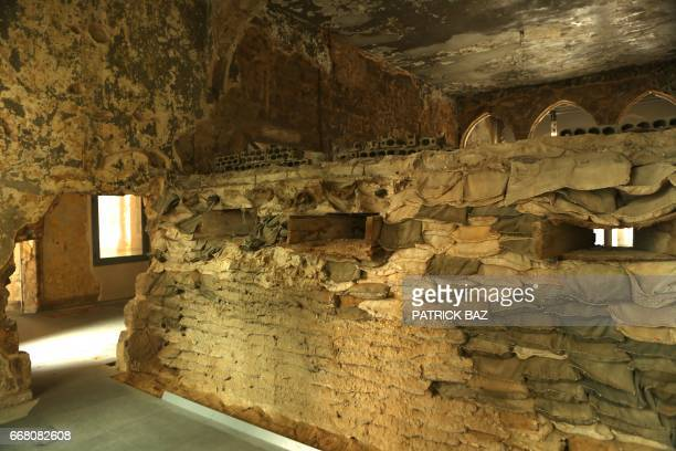 A picture taken on April 13 shows a view of a room in the 'Beit Beirut' a former sniper's nest also known as Barakat Building as Lebanon marks the...
