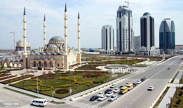 A picture taken on April 14 shows the high rises of the new skyscraper complex GroznyCity Akhmad Kadyrov Mosque known as 'Heart of Chechnya'...