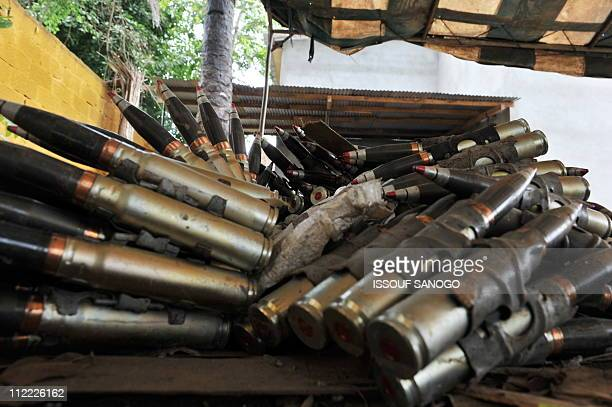 A picture taken on April 15 2011 of ammunition inside the compound of the residence of former Ivorian president Laurent Gbagbo in the Cocody district...