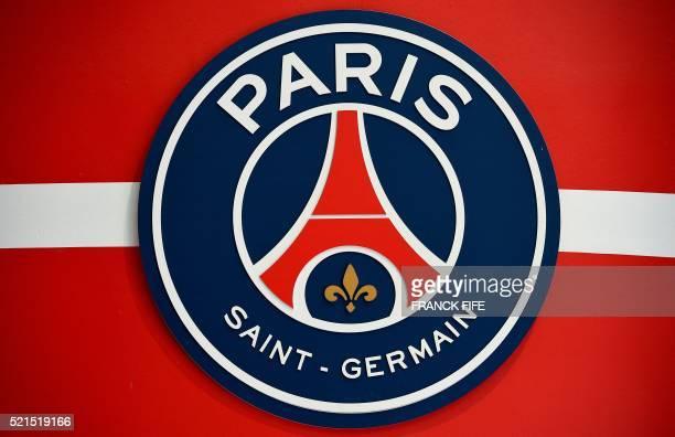 A picture taken on April 15 2016 shows the logo of French Ligue 1 football team Paris SaintGermain at Parc des Princes stadium in Paris / AFP /...