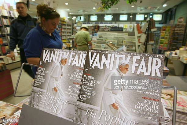 FILES A picture taken on April 16 2007 shows the cover of the German Vanity Fair magazine on display in a Berlin bookstore and featuring a photo of...