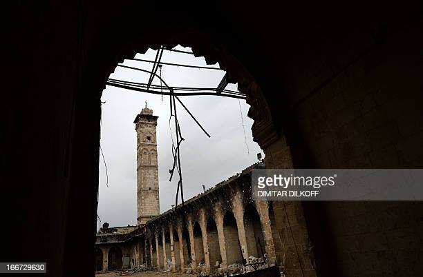 Picture taken on April 16, 2013 shows destruction in the Umayyad Mosque in the old part of Syria's northern city of Aleppo. After nine months of...