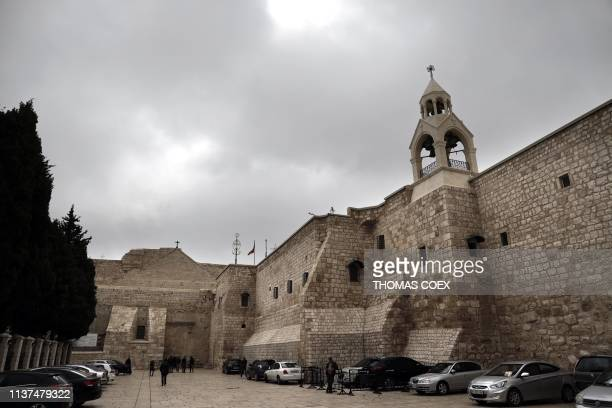 A picture taken on April 16 shows a partial view of the Church of the Nativity in the West Bank holy city of Bethlehem on April 16 2019