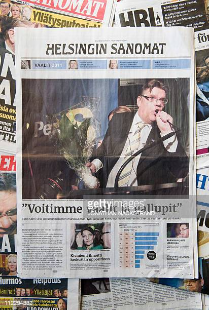 A picture taken on April 18 2011 shows a selection of Finland newspapers' front pages a day after Finland's parliamentary elections Finland's media...
