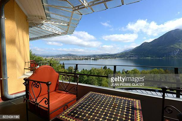 A picture taken on April 19 2016 shows Annecy lake from a room at the Les Trésoms hotel in Annecy The venue will host Iceland's national football...