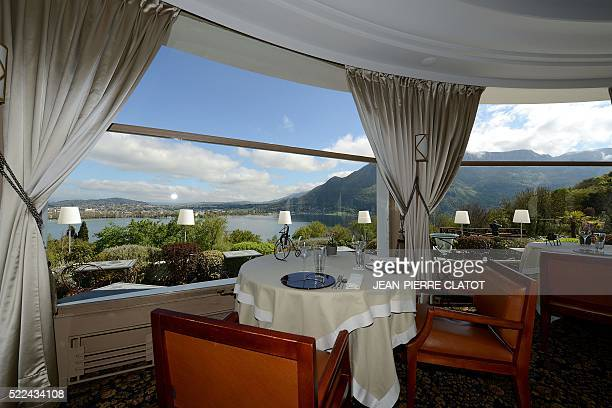 A picture taken on April 19 2016 shows the dining room at the Les Trésoms hotel in Annecy The venue will host Iceland's national football team during...