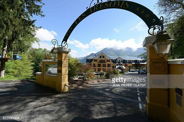 A picture taken on April 19 2016 shows the entrance to Trésoms hotel in Annecy The venue will host Iceland's national football team during the UEFA...