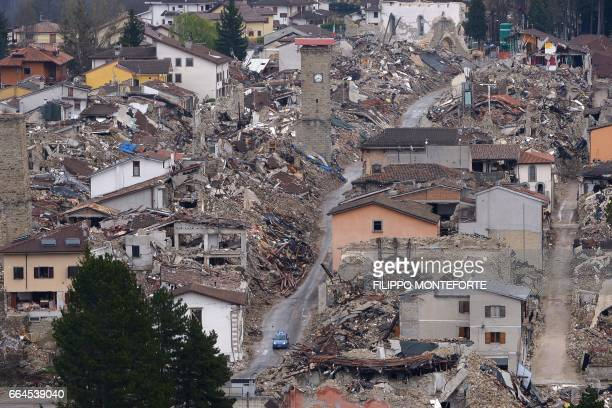 Picture taken on April 2, 2017 shows the historic center of Amatrice eight months after a 6.0 quake completely destroyed the town on August 24...