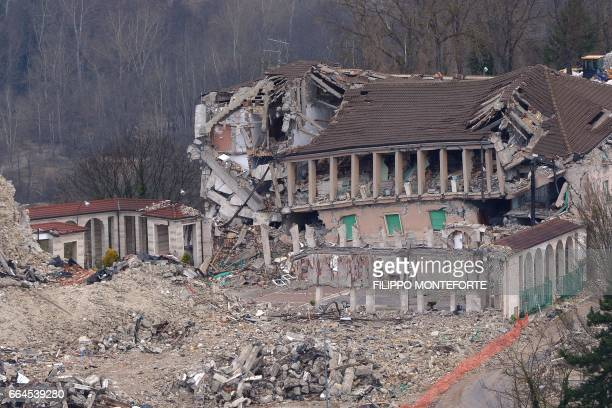 Picture taken on April 2, 2017 shows the historic center of Amatrice completely destroyed by a 6.0 quake on August 24 killing nearly 300 people. /...