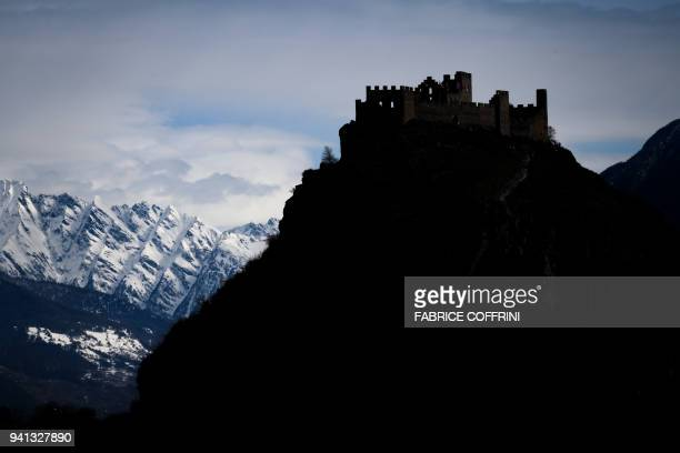 TOPSHOT A picture taken on April 2 2018 in Sion western Switzerland shows Tourbillon Castle The International Olympic Committee on April 3 2018...