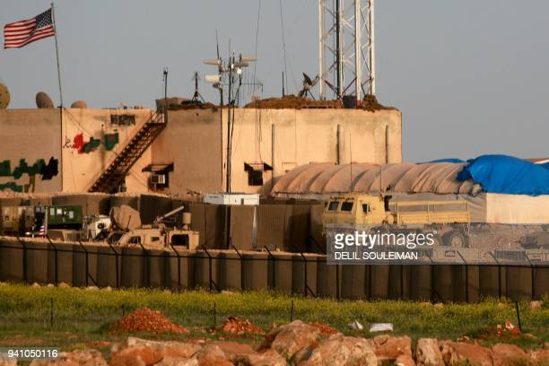 A picture taken on April 2 2018 shows a general view of a US military base in the alAsaliyah village between the Syrian city of Aleppo and the...