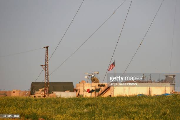 Picture taken on April 2, 2018 shows a general view of a US military base in the al-Asaliyah village, between the Syrian city of Aleppo and the...