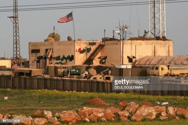 A picture taken on April 2 2018 shows a general view of a US military base in the alAsaliyah village between the city of Aleppo and the northern town...