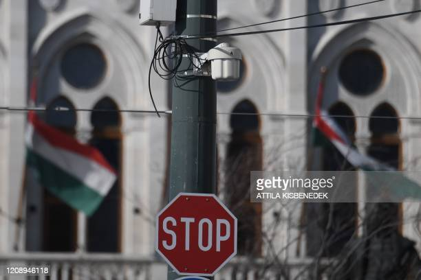 Picture taken on April 2 2020 shows the parliament building on the banks of Danube River in Budapest Hungary Hungary on April 2 2020 hit back at...