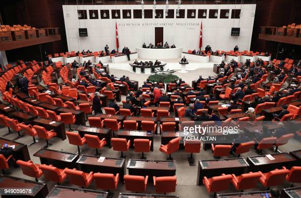 A picture taken on April 20 2018 in Ankara shows a general view of the Grand National Assembly of Turkey as debate motion on proposed early...
