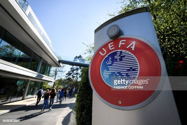 A picture taken on April 20 2018 shows the House of European Football the UEFA headquarters in Nyon where the French football club Paris SaintGermain...