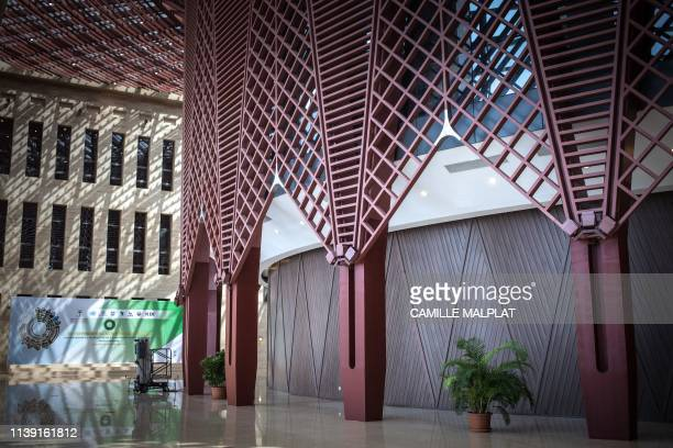 A picture taken on April 20 2019 shows the inside of the conference centre in Sipopo nearly 16km from Malabo in Equatorial Guinea In Sipopo a seaside...