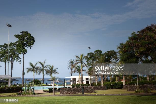 A picture taken on April 20 2019 shows the swimming pool and the garden of the Sofitel Hotel in Sipopo nearly 16km from Malabo in Equatorial Guinea...