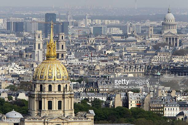 A picture taken on April 21 2010 from the top of the Eiffel Tower in Paris shows the Dome of the Invalides Hotel's chapel The buildings houses the...