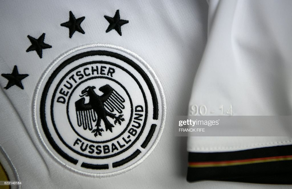 A picture taken on April 21, 2016 in Paris, shows the jersey of the German national football team for the UEFA Euro 2016 European football championships. / AFP / FRANCK
