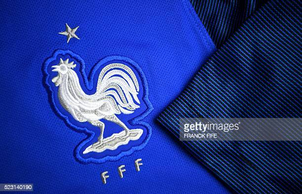 A picture taken on April 21 2016 in Paris shows the jersey of the French national football team for the UEFA Euro 2016 European football...