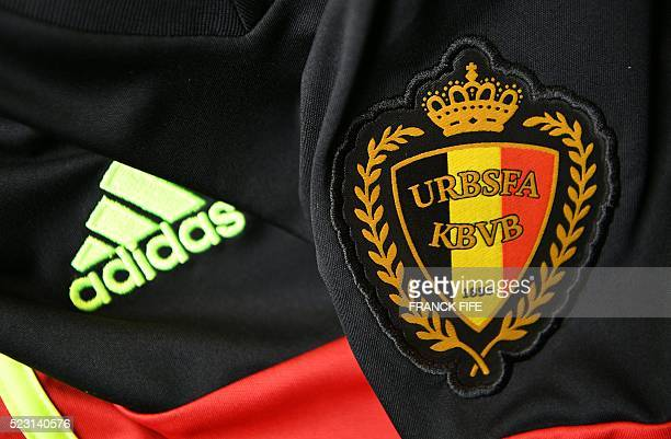 A picture taken on April 21 2016 in Paris shows the jersey of the Belgium national football team for the UEFA Euro 2016 European football...
