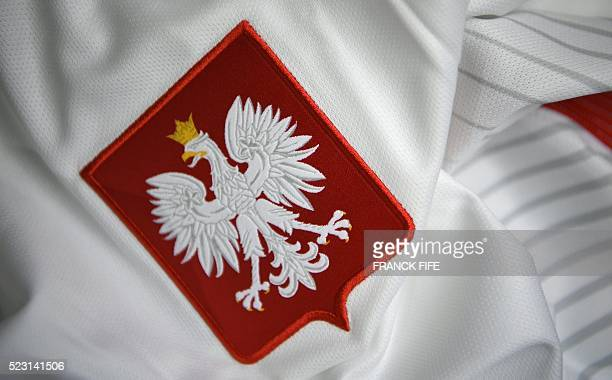 A picture taken on April 21 2016 in Paris shows the jersey of the Polish national football team for the UEFA Euro 2016 European football...