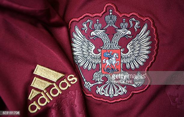 A picture taken on April 21 2016 in Paris shows the jersey of the Russian national football team for the UEFA Euro 2016 European football...