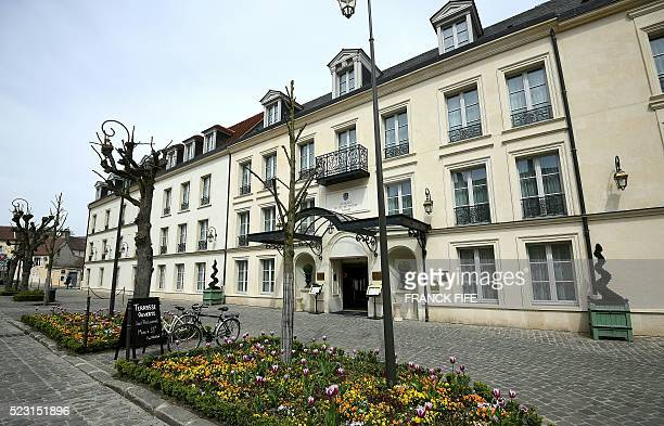 A picture taken on April 21 2016 shows a view of l'Auberge du Jeu de Paume in Chantilly The hotel will host England's national football team during...