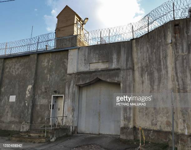 Picture taken on April 21, 2021 shows the former Lukiskes prison in Vilnius. - Lithuania is searching for investors to redevelop a historic former...