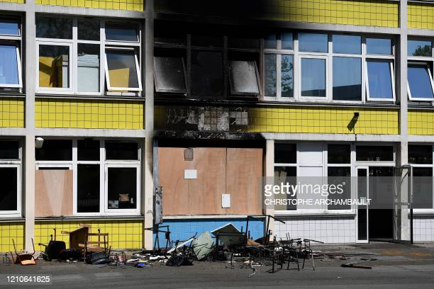 Picture taken on April 22, 2020 shows the main building of a school that was set on fire the night before in Gennevilliers, in the northern suburbs...