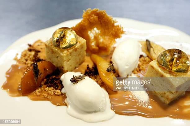 Picture taken on April 23 2013 in Nice southeastern France of a dessert 'Inclusion de grillons en bubble au whisky' prepared by French...