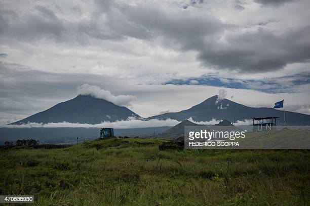 A picture taken on April 23 2015 shows the MONUSCO base near the village of Kibumba North Kivu a few kilometers away from where allegedly Rwandan...