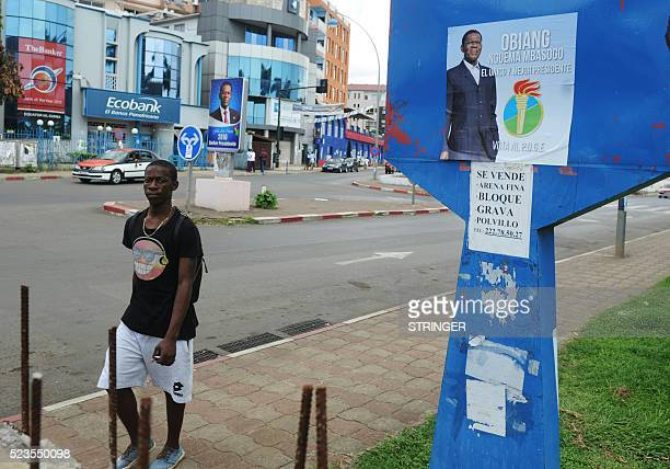 A picture taken on April 23 2016 shows an electoral poster of Equatorial Guinea incumbent president and candidate Teodoro Obiang in Malabo Africa's...