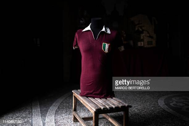 Picture taken on April 23, 2019 shows the jersey of Grande Torino's football player Ezio Loik in the Museum of Grande Torino and Granata's legend in...