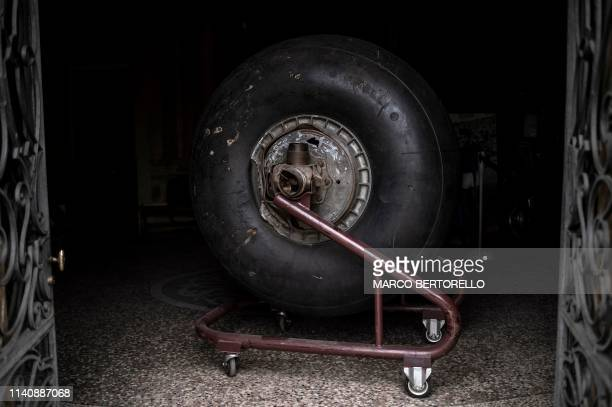 A picture taken on April 23 2019 shows the wheel of the landing gear of the plane crashed on the hill of Superga on May 4 in the Museum of Grande...