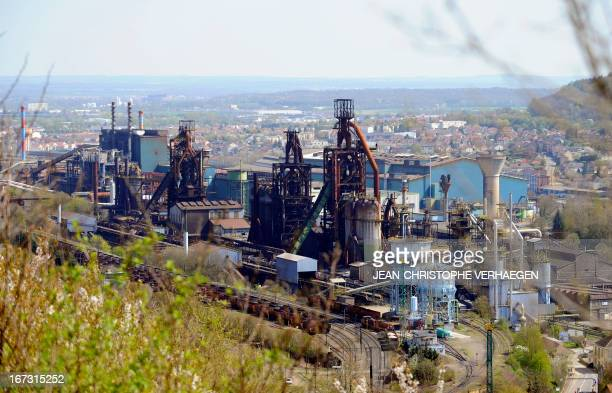 A picture taken on April 24 2013 shows blast furnaces of steel giant ArcelorMittal at the Florange site in Hayange eastern France ArcelorMittal's...