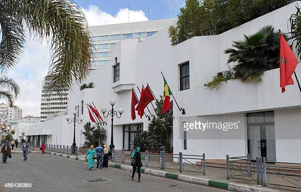 A picture taken on April 24 2014 shows the Hyatt Regency hotel in the Moroccan city of Casablanca where stays Senegal's former president Abdoulaye...