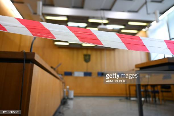 Picture taken on April 24, 2020 shows a view of the courtroom before the start of the trial of an Iraqi man, identified only as Taha al-J., believed...