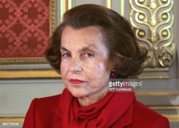 A picture taken on April 25 2005 shows France's richest woman Liliane Bettencourt posing at the Elysee Palace in Paris Bettencourt filed a police...