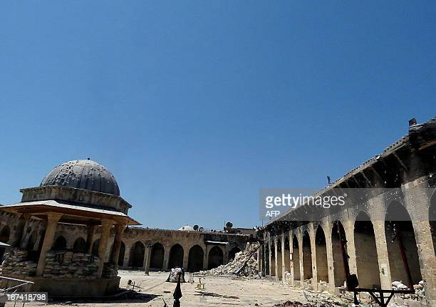 A picture taken on April 25 2013 shows the rubble of the minaret of Aleppo's ancient Umayyad mosque in the UNESCOlisted northern Syrian city after it...