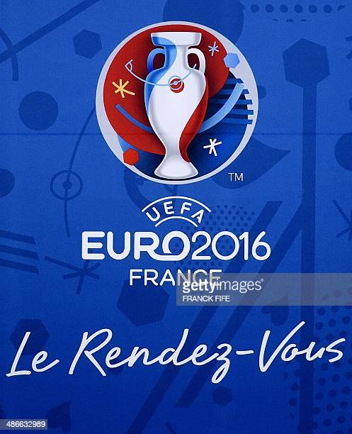 A picture taken on April 25 2014 in Paris shows the logo of the UEFA European Football Championships Euro 2016 AFP PHOTO / FRANCK FIFE