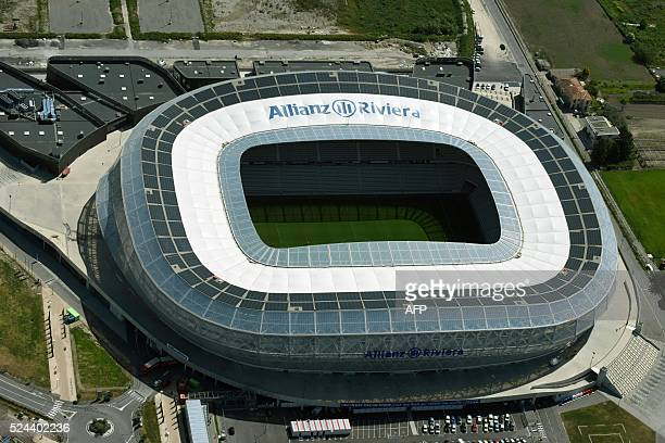 A picture taken on April 25 2016 shows an aerial view of the Stade Allianz Riviera stadium in Nice southern France / AFP / EUROLUFTBILD / Robert Grahn