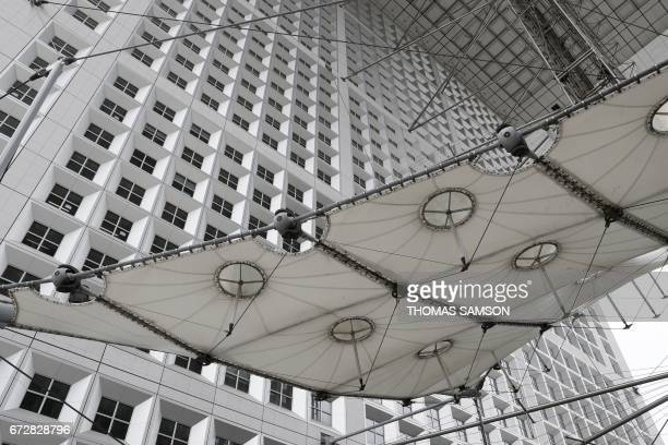 A picture taken on April 25 2017 a detail of the Grande Arche of La Defense in the business district of La Defense in the northwestern suburbs of...