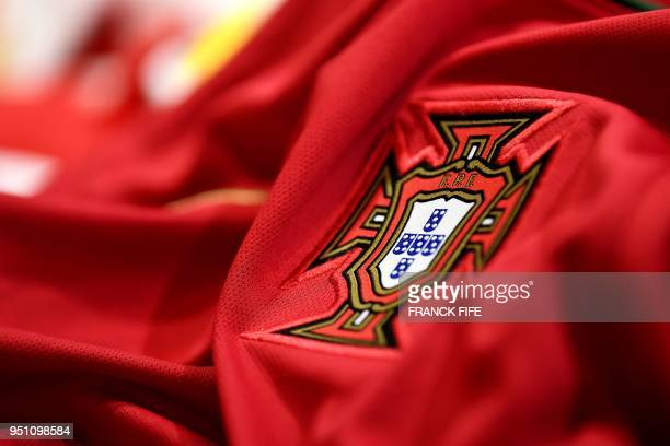 A picture taken on April 25 2018 in Paris shows the jersey of the Portugal national football team for the FIFA 2018 World Cup football tournament