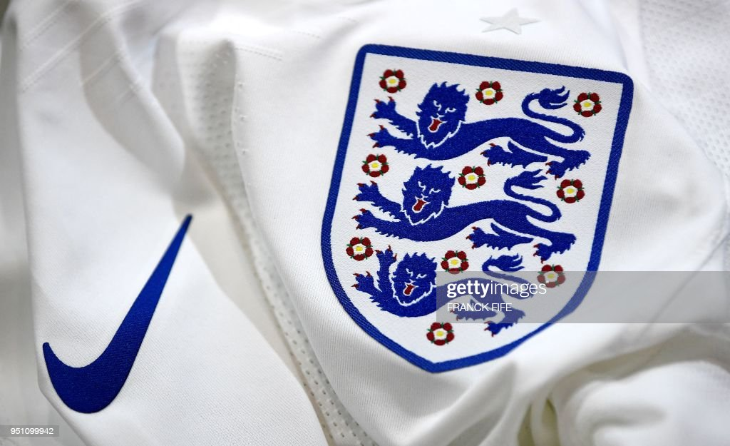 A picture taken on April 25, 2018 in Paris, shows the jersey of the English national football team for the FIFA 2018 World Cup football tournament.