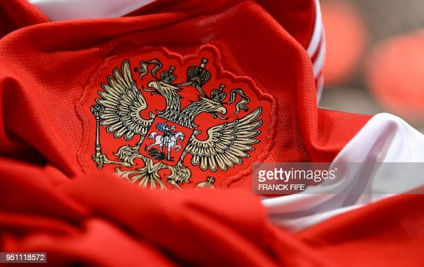 A picture taken on April 25 2018 in Paris shows the jersey of the Russian national football team for the FIFA 2018 World Cup football tournament