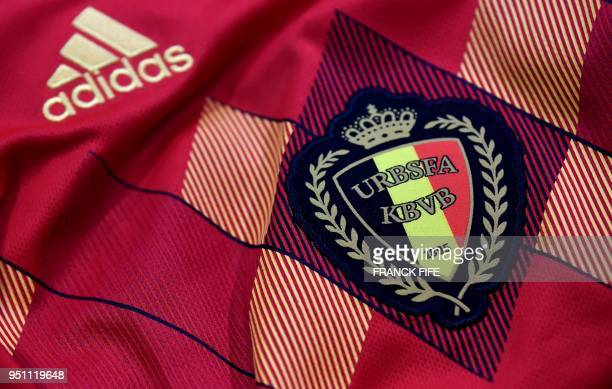 A picture taken on April 25 2018 in Paris shows the jersey of the Belgian national football team for the FIFA 2018 World Cup football tournament