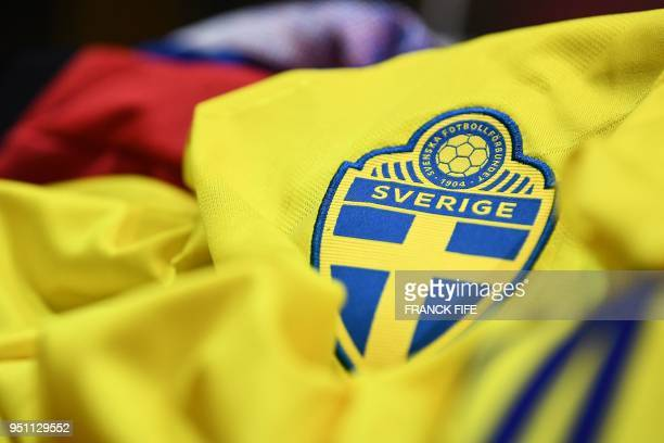 A picture taken on April 25 2018 in Paris shows the jersey of the Swedish national football team for the FIFA 2018 World Cup football tournament