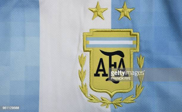 Picture taken on April 25, 2018 in Paris, shows the jersey of the Argentinian national football team for the FIFA 2018 World Cup football tournament.